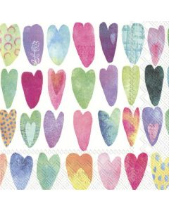 IHR Paper Napkins, Pack of 20 3-ply Lunch Size, Rainbow Hearts