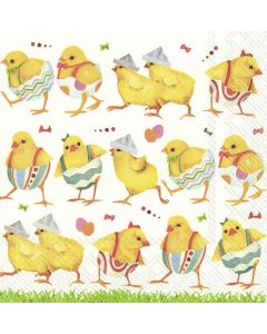 Cute Chickens on Catwalk - 4 Napkins for Decoupage