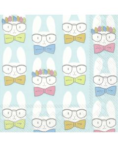 Easter Bunnies Turquoise - 4 Napkins for Decoupage
