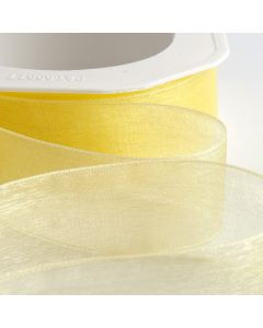 ,Italian Options - Organza Woven Edge Ribbon Lemon