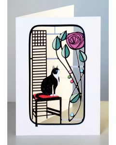 Forever Cards Laser Cut Card Charles Rennie Mackintosh Inspired Black Cat and Rose