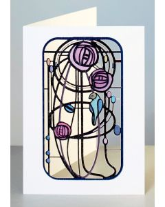 Forever Cards Laser Cut Card Charles Rennie Mackintosh Inspired Parrot and Roses