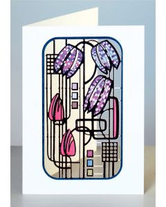 Forever Cards Laser Cut Card Charles Rennie Mackintosh Inspired Fitillary and Tulips