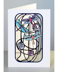 Forever Cards Laser Cut Card Charles Rennie Mackintosh Inspired Dragonflies