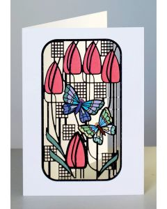 Forever Cards Laser Cut Card Charles Rennie Mackintosh Inspired Butterflies and Tulips