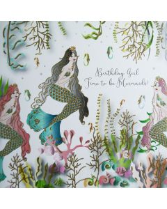 Five Dollar Shake Birthday Card Birthday Girl, Time to be Mermaids!