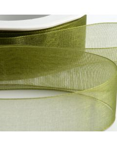 ,Italian Options - Organza Woven Edge Ribbon Moss Green