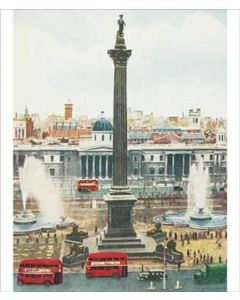 Portfolio, National Gallery Greeting Card Hand Tinted 1950's Postcard of Trafalgar Square by Anon