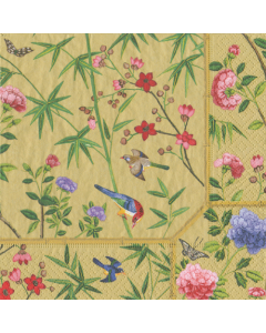 Paper Napkins for Decoupage, 4 Single Lunch Size Paper Napkins, Gold Chinese Wallpaper