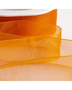 ,Italian Options - Organza Woven Edge Ribbon Orange