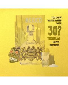 Five Dollar Shake Birthday Card You Know What Rhymes with 30? Tequila!