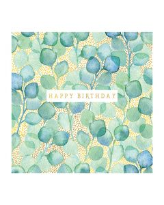 The Art File Natural Phenomenon Birthday Card Green Leaves Gold Dots