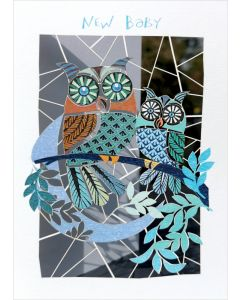 Forever Cards Laser Cut New Baby Card Blue Owls And Moon