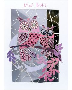 Forever Cards Laser Cut New Baby Card Pink Owls And Moon