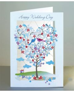 Forever Cards Laser Cut Wedding Day Card Heart Shaped Tree