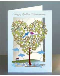 Forever Cards Laser Cut Golden Anniversary Card Heart Shaped Tree