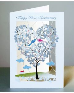 Forever Cards Laser Cut Silver Anniversary Card Heart Shaped Tree