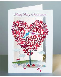 Forever Cards Laser Cut Ruby Anniversary Card Red Heart Shaped Tree