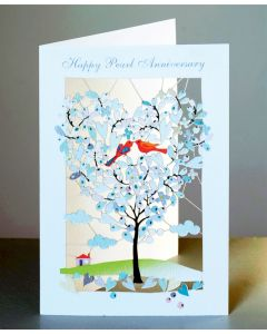 Forever Cards Laser Cut Pearl Anniversary Card Heart Shaped Tree