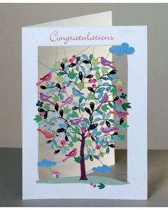 Forever Cards Laser Cut Congratulations Card Tree And Birds