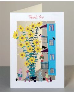 Forever Cards Laser Cut Thank You Card Sunflowers In Wheelbarrow