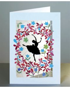 Forever Cards Laser Cut Blank Card Ballerina And Red Leaves