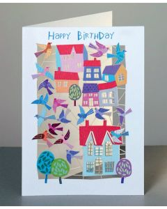 Forever Cards Laser Cut Birthday Card Birds And Houses