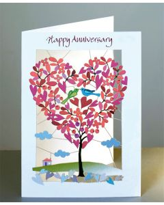 Forever Cards Laser Cut Anniversary Card Heart Shaped Tree