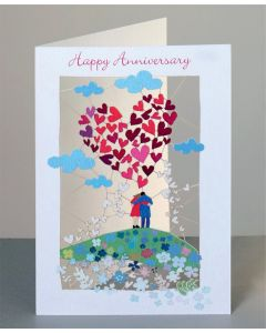 Forever Cards Laser Cut Anniversary Card Couple And Big Heart