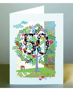 Forever Cards Laser Cut Birthday Card Age 50 Tree