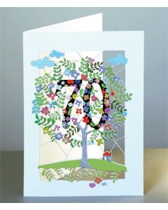 Forever Cards Laser Cut Birthday Card Age 70 Tree