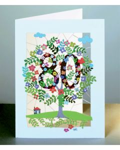 Forever Cards Laser Cut Birthday Card Age 80 Tree