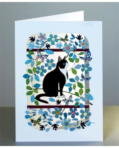 Forever Cards Laser Cut Blank Card Classic Black and White Cat