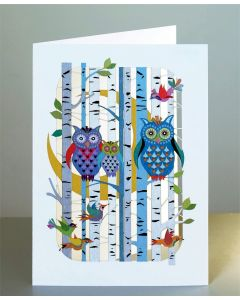 Forever Cards Laser Cut Blank Card Owls in Forest