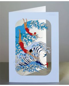 Forever Cards Laser Cut Blank Card Wave and Swimmers