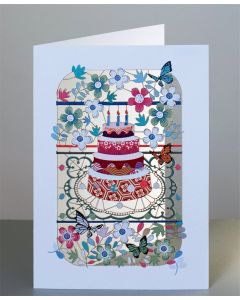 Forever Cards Laser Cut Birthday Card Cake and Flowers
