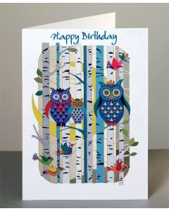 Forever Cards Laser Cut Birthday Card Forest Owls