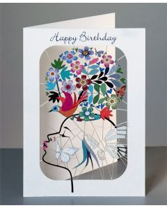 Forever Cards Laser Cut Birthday Card Girl with Bird & Flowers on Head