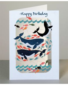 Forever Cards Laser Cut Birthday Card Whales & Fish