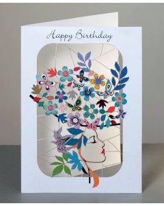 Forever Cards Laser Cut Birthday Card Girl with Flowery Hat