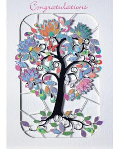 Forever Cards Laser Cut Congratulations Card Exotic Flowering Tree
