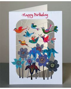 Forever Cards Laser Cut Birthday Card Birds flying over flowers