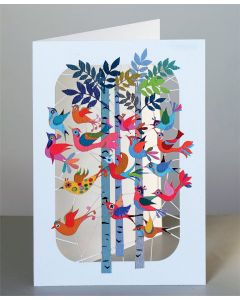 Forever Cards Laser Cut Blank Card Birds flying through forest