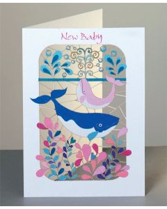 Forever Cards Laser Cut New Baby Card Pink Baby Whale
