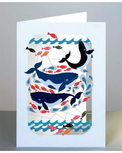 Forever Cards Laser Cut Blank Card Whales and Fish