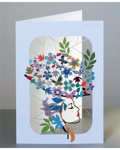 Forever Cards Laser Cut Blank Card Lady with Floral Hat