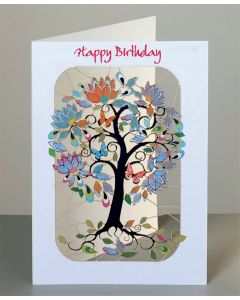 Forever Cards Laser Cut Birthday Card Exotic Tree