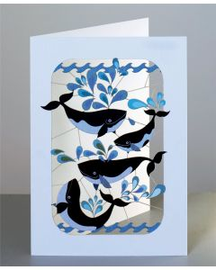 Forever Cards Laser Cut Blank Card 4 Whales Splashing