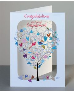 Forever Cards Laser Cut Engagement Card 2 birds in a Tree