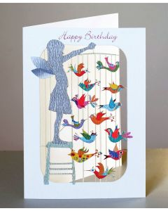 Forever Cards Laser Cut Birthday Card Child with Bird Mobile